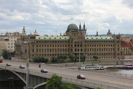 praha: View of Praha old town with antique buildings and bridge 7438 Editorial