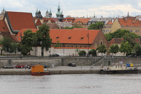 praga: Panoramic view of old Prague town with Vltava river 7450 Editorial