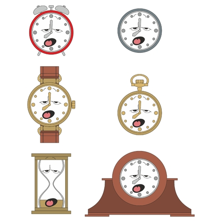 Cartoon funny clock or watch face smiles illustration 011 Vector
