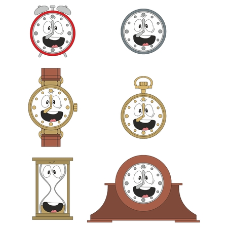 watch face: Cartoon smiling clock or watch face smiles illustration 010