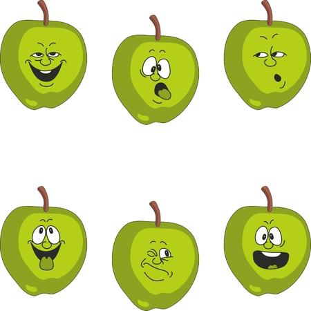 Vector.Emotion cartoon green apple set 017 Vector