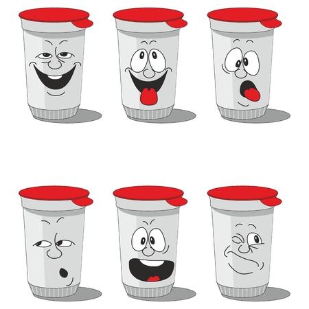 pack: Set smiling plastic cups