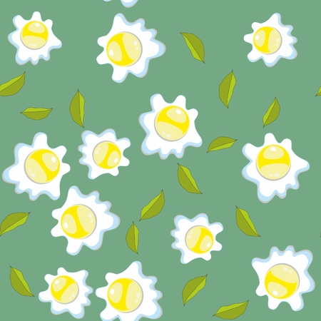 scrambled: Broken eggs seamless pattern. Scrambled eggs breakfast background with leaves Illustration