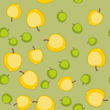 24 7: Seamless pattern with cartoon apples. Fruits repeating background. Endless print texture. Fabric design. Wallpaper