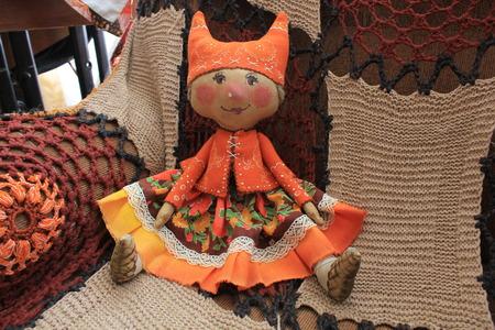 rag doll: Russian homemade rag doll as symbol of autumn