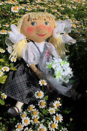 rag doll: Russian homemade rag doll as symbol of schoolgirl