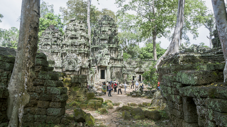 Close up of ancient Angkor Thom Bayon Temple in the Angkor Area, near Siem Reap, Cambodia, Asia. Buddhist monastery from the 12th century. Asian architectural background.