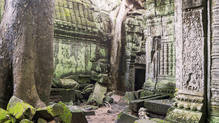 Giant tree roots covering Ta Prom temple, Siem Reap, Cambodia, landmark in Siem Reap, Cambodia. Angkor Wat inscribed on the UNESCO World Heritage List. Archaeological enclosure. Banco de Imagens