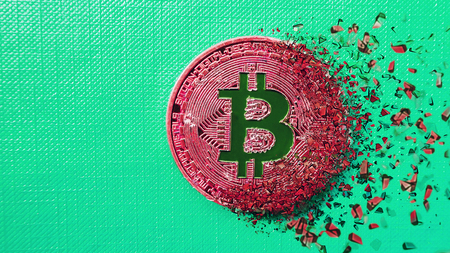 3D Dispersion effect. Bitcoin fail concept, Physical red bitcoin bursting disperse in pieces fragments. Close up of gold bitcoin crypto currency money scattered on aquamarine background. Copy space 版權商用圖片