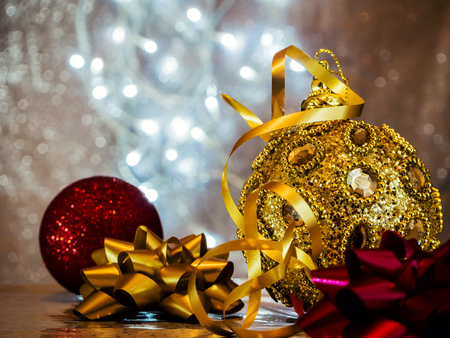 Christmas tree toys with blurred, sparkling, Light and fairy background. Fir tree decoration. New Year 2019. New Year mood,  Lights, bokeh. festive. Merry Christmas concept. Copy space for design. Stock Photo