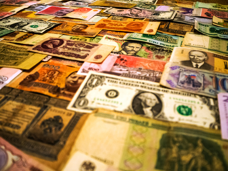 Real international banknotes from world major countries. financial economy background for desktop wallpaper. Money Texture. lots wads of money cash. The concept of wealth, profits, business, finance. Banque d'images