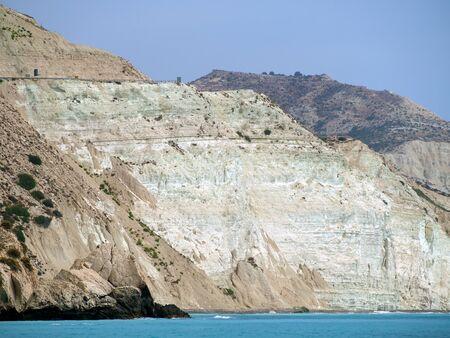 Love beach. Aphrodites Rock is birthplace near Paphos City. The rock of the Greek, Petra tou Romiou. Cyprus island Stockfoto
