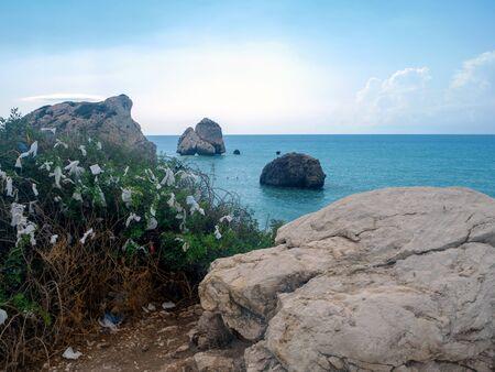Love beach. Aphrodites Rock is birthplace near Paphos City. The rock of the Greek, Petra tou Romiou. Cyprus island Stok Fotoğraf