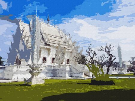 White temple in chiang rai. Imitation of Oil Painting, Art Tapestry for Wall Hanging Bedroom. Living Room Decor. Print, Modular image. Brush strokes with acrylic paint on canvas Stock Photo