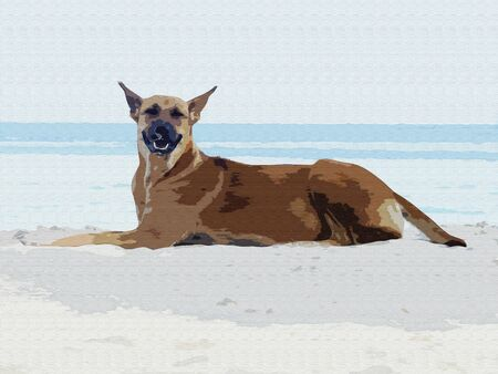 Brown dog on the sand. Blue and white sea background. Imitation of Oil Painting, Art Tapestry for Wall Hanging Bedroom. Living Room Decor. Canvas Picture, Print, Modular image.