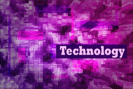 Techno abstract background, pink and blue screen. Transparent rectangles. Abstract Techno Lines Background, copy space for design, desktop, wallpapers, banners, social media covers. Technology text 版權商用圖片 - 134807602