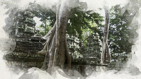 A temple-eating tree at Ta Prohm, Cambodia. Imitation of Oil Painting, Art Tapestry for Wall Hanging Bedroom. Living Room Decor. Print, Modular image. Brush strokes with acrylic paint on canvas Stock Photo