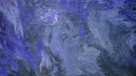 Close up of Real blue Oil Painting, Art Tapestry for Wall Hanging Bedroom. Living Room Decor. Print, Modular image. Brush strokes with acrylic paint on canvas 版權商用圖片