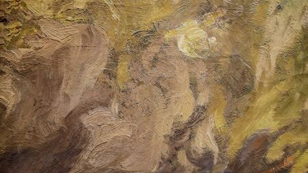 Close up of Real Brown Oil Painting, Art Tapestry for Wall Hanging Bedroom. Living Room Decor. Print, Modular image. Brush strokes with acrylic paint on canvas
