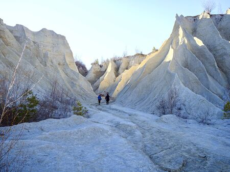 Abandoned Quarry Of Rummu, Estonia. Scenic View Of Land. Mountain of white sand and stones. Panoramic View. The erosion of limestone quarry. Sandy hill. Beautiful Texture of surface. Earth, explore. Reklamní fotografie