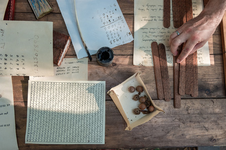 Medieval writing. Tools for ancient writing. Mascara and feathers.