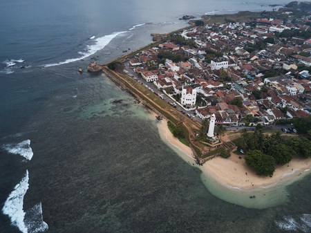 Aerial view. Sri Lanka. Galle. The Fort Galle. The lighthouse. 版權商用圖片