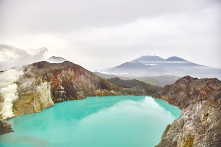 Crater of the volcano Ijen. View from above.
