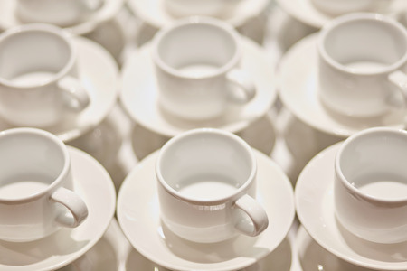 Small white coffee cups. Catering. Close up.