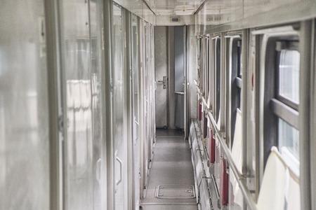 Empty corridor in the train car. Close up. Banco de Imagens