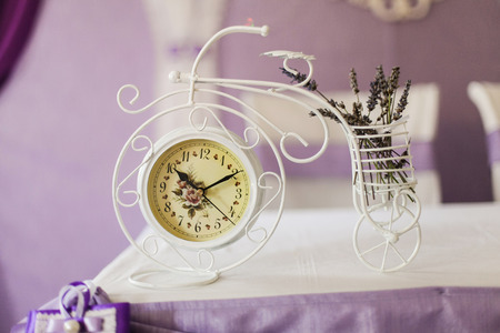 Beautiful vintage clock on the table. Close-up.