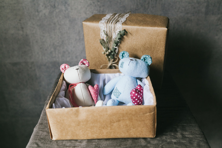 Soft children's toy closeup. Handmade toys.