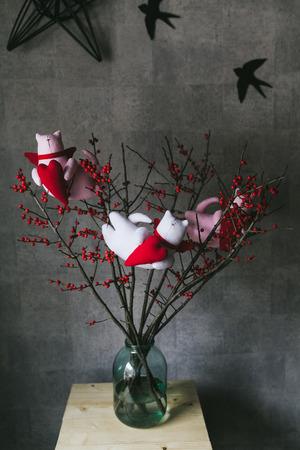 Handmade toys for interior decoration. Tilda toys. 写真素材 - 123634240
