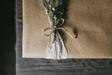 Beautiful handmade gift box with lace ribbon. 写真素材 - 124716581