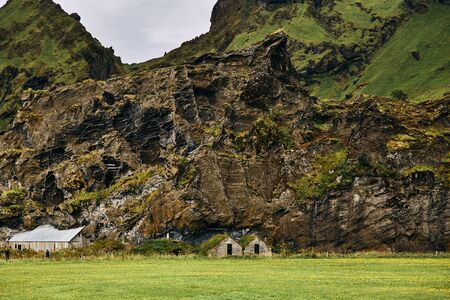 Ruins of Icelandic traditional house and barn