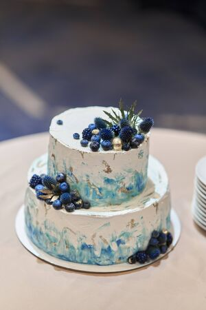 Wedding cake with blue berries. Stylish cake decorated with blueberries
