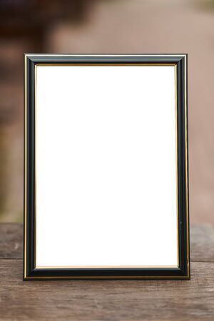 Wooden frame mockup  vertical a4. Close-up Stock Photo