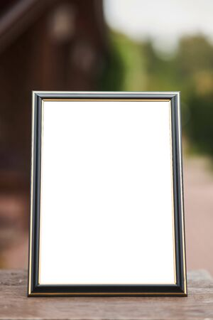 Wooden frame mockup vertical a4. Close-up