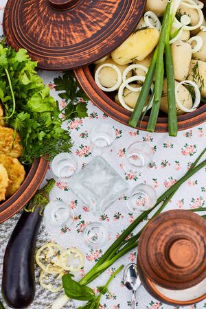 Table with national russian dishes. Russian vodka, cucumber, tomato, cabbage Stockfoto