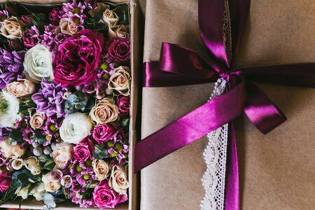 Beautiful handmade gift box with lace ribbon.