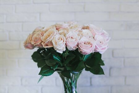 A bouquet of large pink roses close up. Stock Photo - 132049329