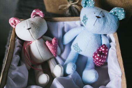 Soft childrens toy closeup. Handmade toys.