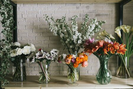 Beautiful bouquets of flowers in a vase. Stock Photo