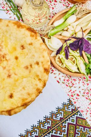Pita. Unleavened white bread. National cuisine of the peoples of the Caucasus. 写真素材 - 132049512