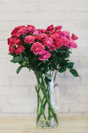 A bouquet of large pink roses close up. Stock Photo