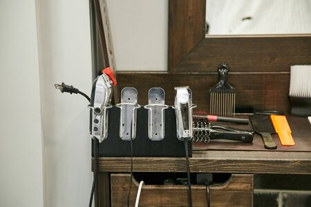 Set for mens haircuts in the barbershop. Stockfoto