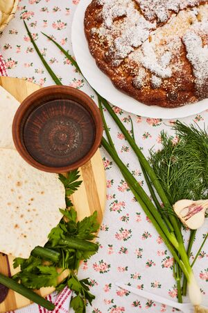 Pita. Unleavened white bread. National cuisine of the peoples of the Caucasus.