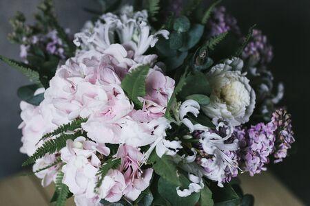 Bouquet of delicate pink flowers close up. Hortensia. Zdjęcie Seryjne - 132062068