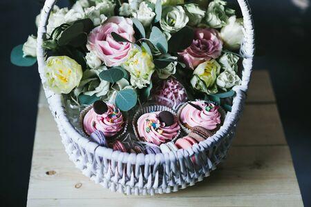 Beautiful bouquet of flowers in a basket.