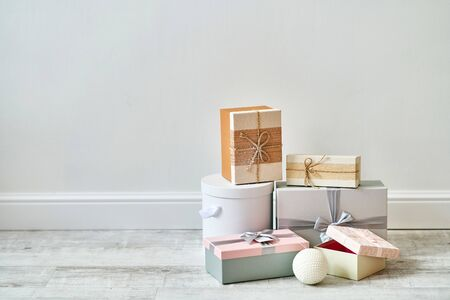 Christmas gift boxes on a white background. Banner, copy space.