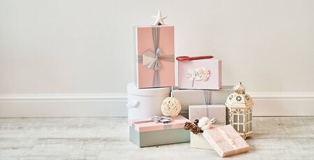 Christmas gift boxes on a white background.